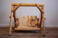 Rustic wood Cedar Log porch Swing chair photo by ...