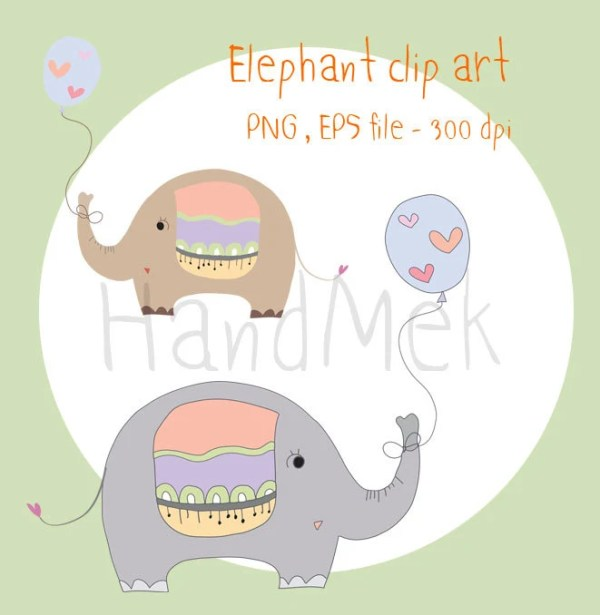 elephant and balloon clip art instant