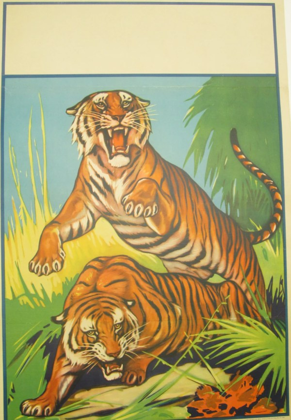 Original Vintage Circus Tiger Poster Blank Hodesh