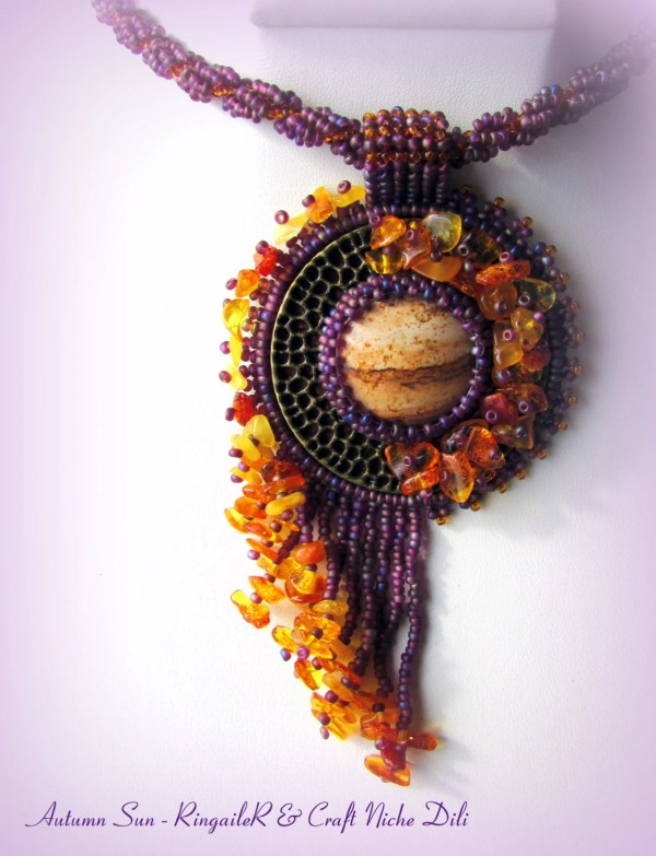 SUMMER SALE Unique hand made bead embroidered necklace with