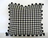 Black and cream hounds tooth cover with pompon fringe for 20-inch pillow insert