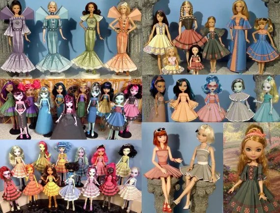 Printable Doll Clothes Volume 2 - Printable Paper Dresses that fit Barbie, Monster High, Ever After High and more