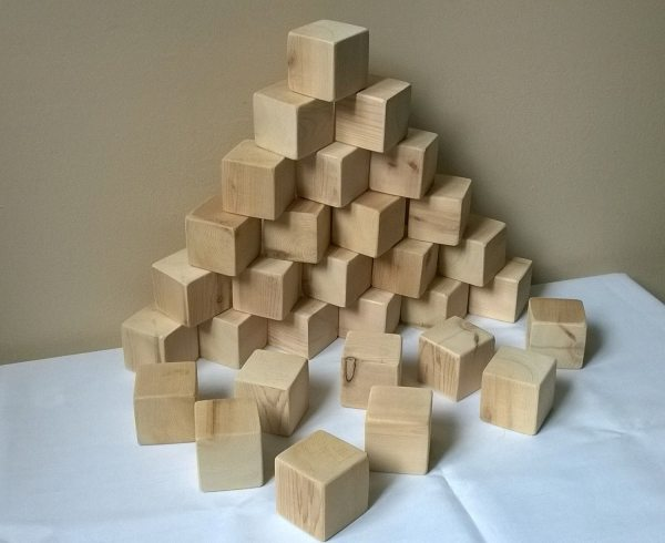 Set Of 30 1.75 Unfinished Toy Wooden Blocks Building