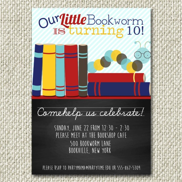 10th Birthday Party Invitation Wording Ideas Book Themed Invitations