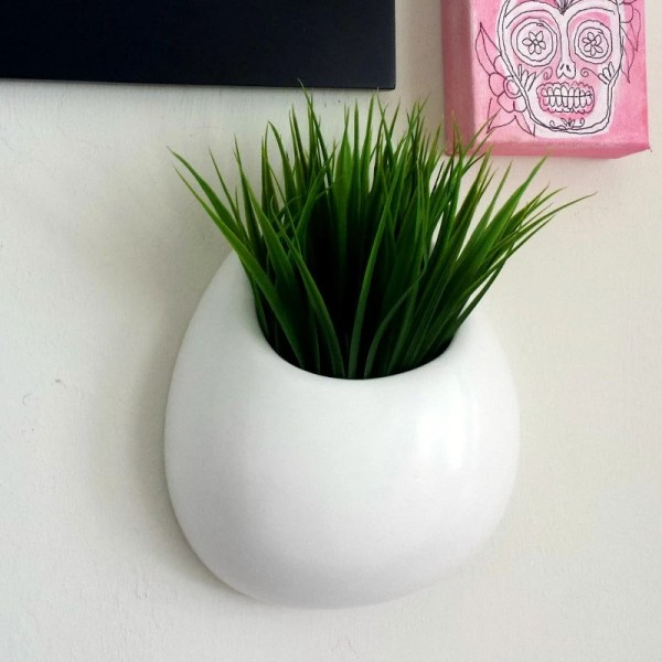 Ceramic Wall Planter White Pocket Hand Sewzinski