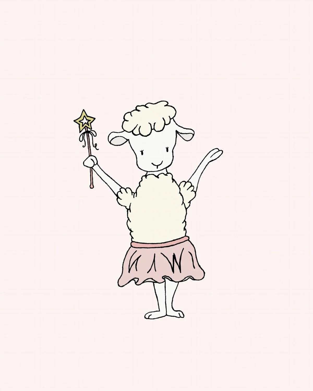 Lamb Nursery Art Lamb Ballerina With Wand Girl Nursery