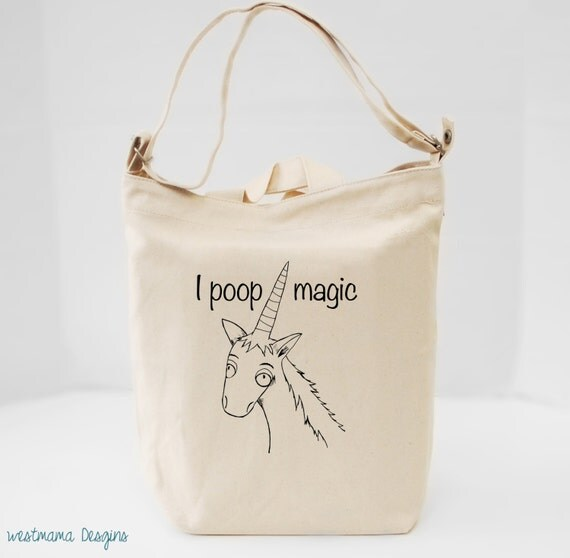 Unicorn Tote Bag Canvas Tote Cross Body Strap Pocket Tote