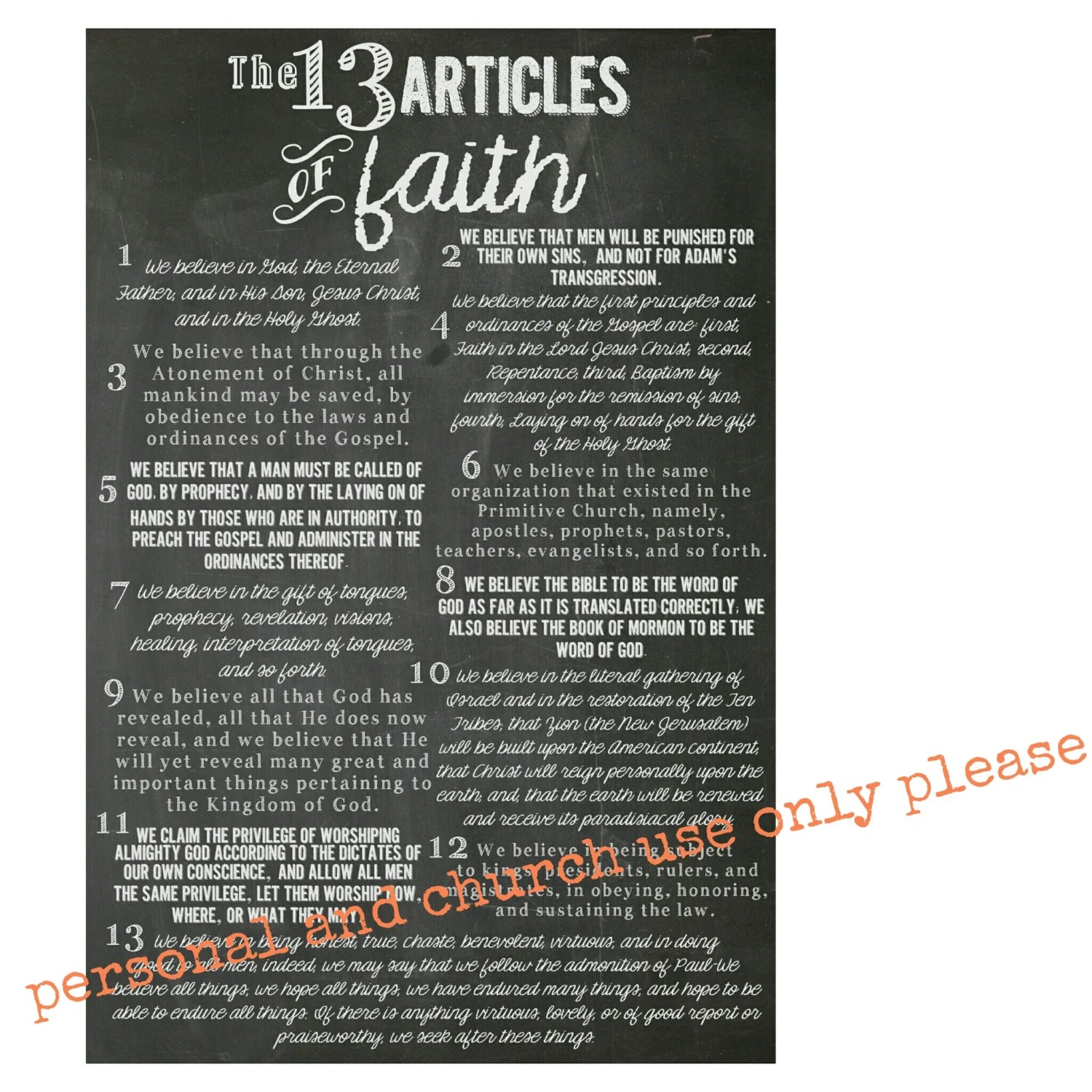 13 Articles Of Faith Printables 3 Different Sizes By
