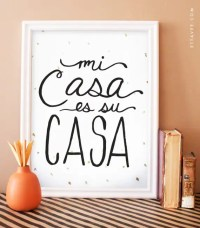 Mi Casa es su Casa digital black art print with gold foil
