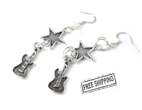 Guitar earrings punk rock jewelry rock n roll jewelry