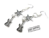 Guitar earrings punk rock jewelry rock n roll jewelry