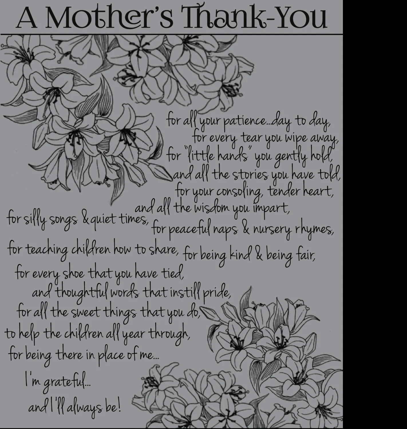 Items similar to A mother's thank you on Etsy