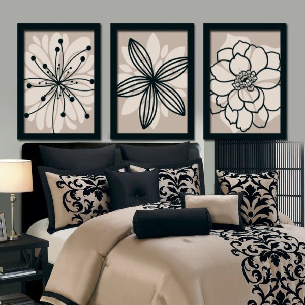 Beige Black Wall Art Bedroom Canvas Prints Bathroom