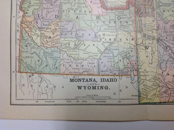 Antique 1897 Montana Idaho Wyoming Regional Map