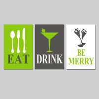 Eat Drink and Be Merry Wall Art for Kitchen Dining Room