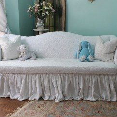 Ruffled Sofa Slipcover Full Size Savannah Futon Bed Shabby Chic Couch Ruffle Roses White By
