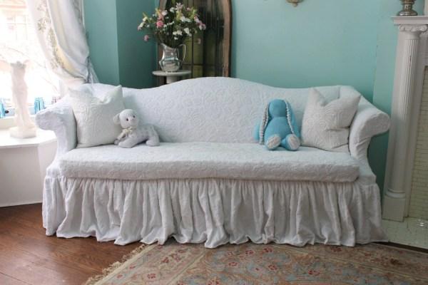 Shabby Chic Sofa Couch Ruffle Roses White