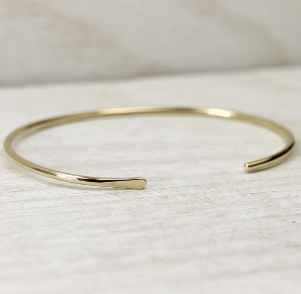 14k Solid Gold Smooth Cuff Bracelet Simple Lotusstone