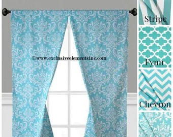 Aqua Curtains Etsy