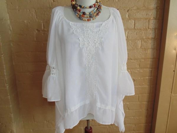 Soft Flowing Lace Trim Kaftan Blouse White Chiffon