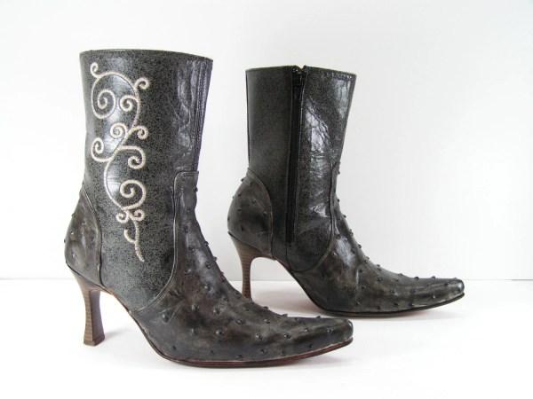 Short Cowboy Boots Womens 6 Charcoal Gray High Heel