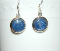 Kyanite Earrings Silver Blue Shimmer Sterling by