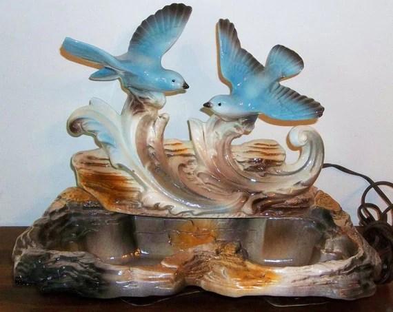 Mid Century California Pottery Blue Bird TV Lamp Planter 1959