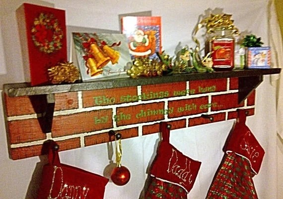 Fireplace Holder Christmas Mantel Stocking Holder With Quote Or By