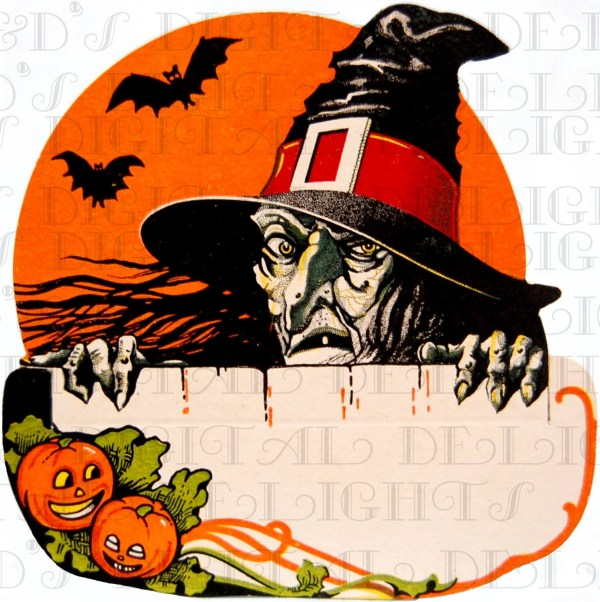 Rare Ugly Creepy Witch Over Fence Vintage Halloween