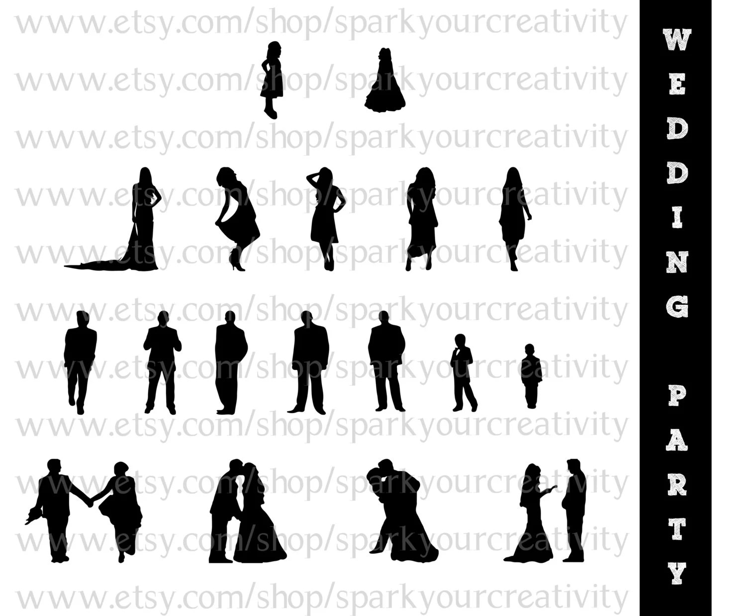 Wedding Party Silhouettes Wedding Bride By
