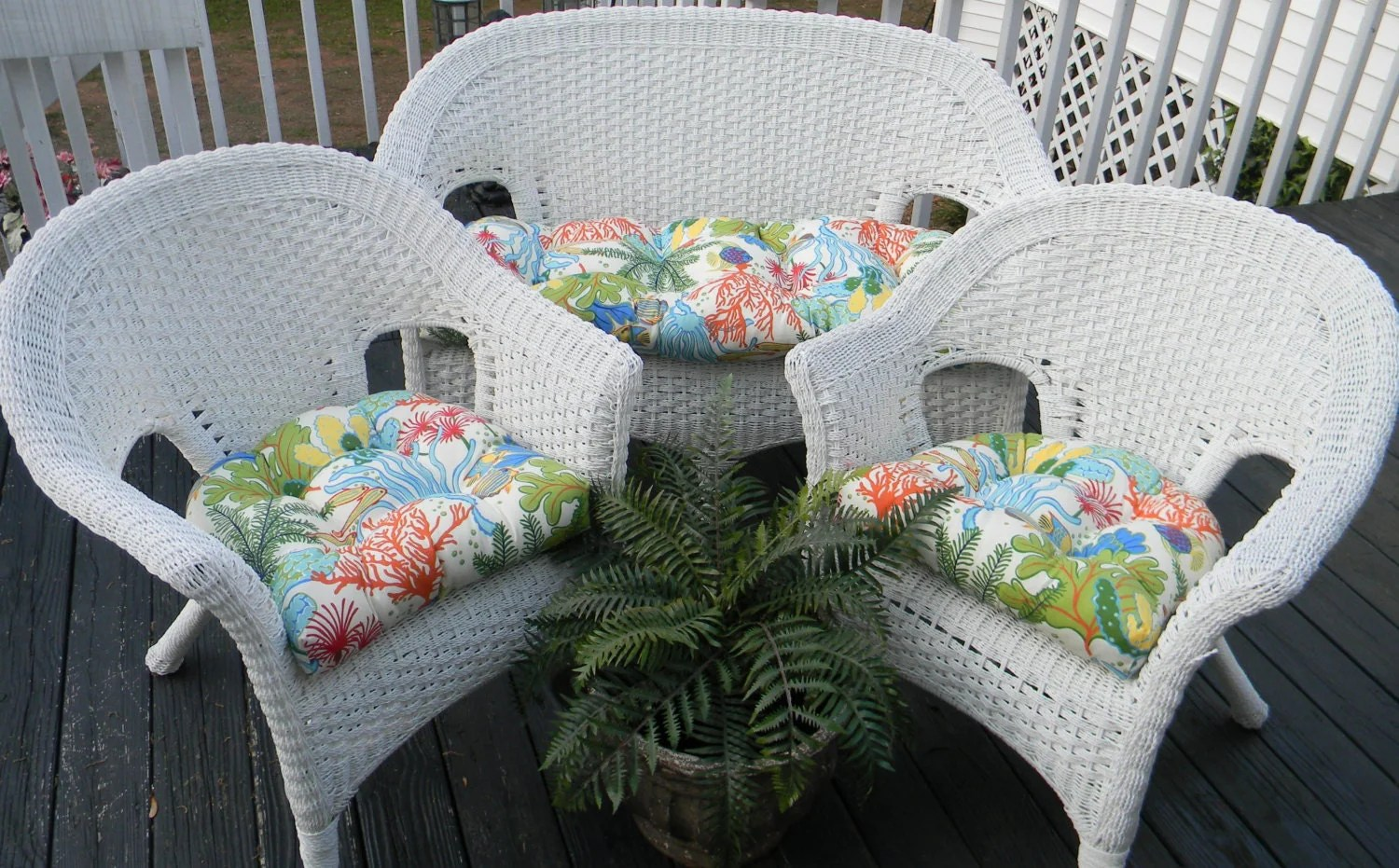 Indoor / Outdoor Cushions For Wicker 3 Pc Set Whimsical Fish