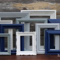Navy blue grey white picture frames by hydeandchicboutique
