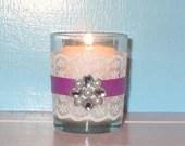 Wedding Votive Candle holder / Radiant Orchid and White  Lace Bling Wedding Votive / Spring Wedding Decoration / Shabby Chic Wedding Decor - CarolesWeddingWhimsy