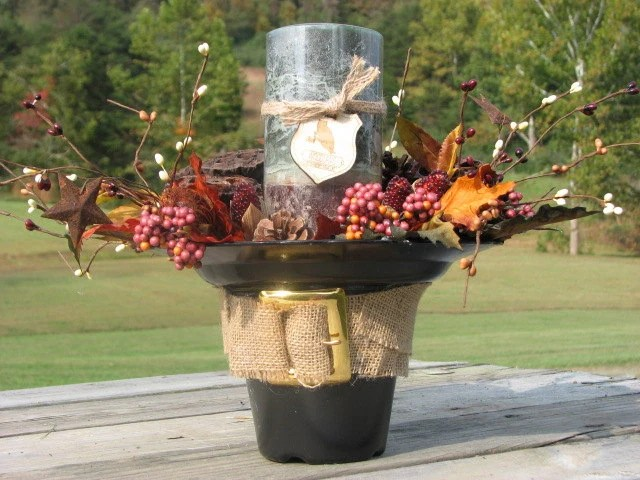 SALE PRICE 15 dollars Rustic Pilgrim's Hat Centerpiece with leaves pip berries pinecones pods mini corn Woodland candle Fall Centerpiece - TheVineDesigns