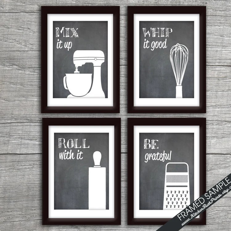 Funny Kitchen Art Print Set Mixer Whisk Rolling Pin and