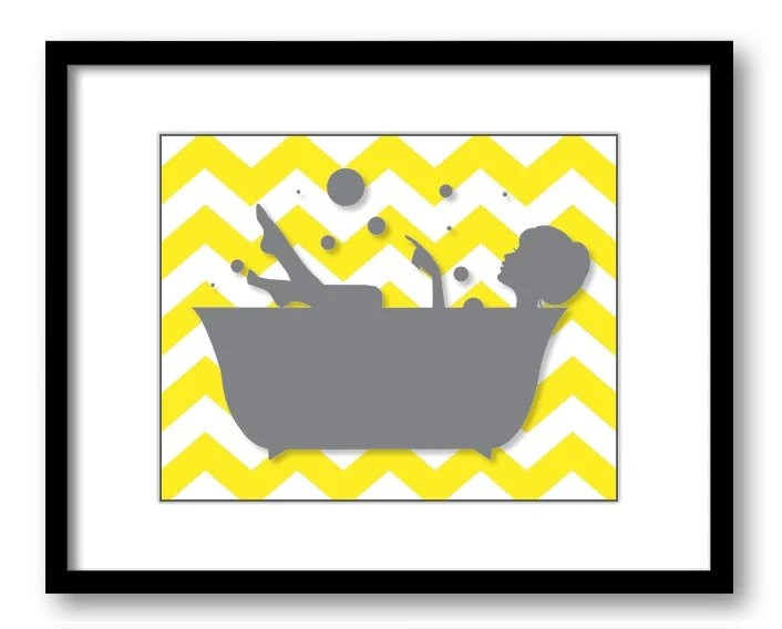 Bathroom Decor Bathroom Print Grey Girl Yellow by CustomArtPrints