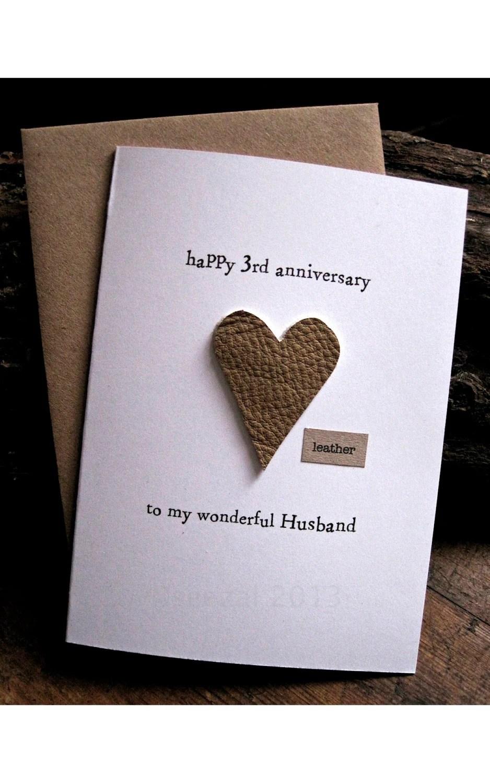 3rd Wedding Anniversary Card LEATHER Traditional by ArtBySeezal