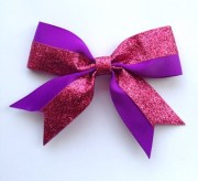 purple and pink glitter hair bow