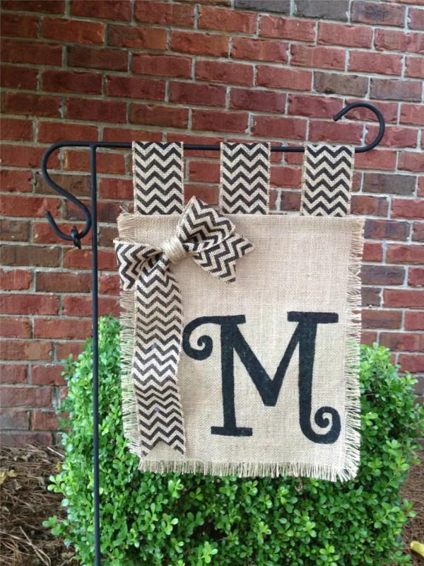 Monogram Burlap Garden Flag Yard Spring