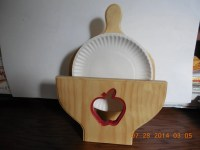 Varnished white pine paper plate or plate organizer holds 9