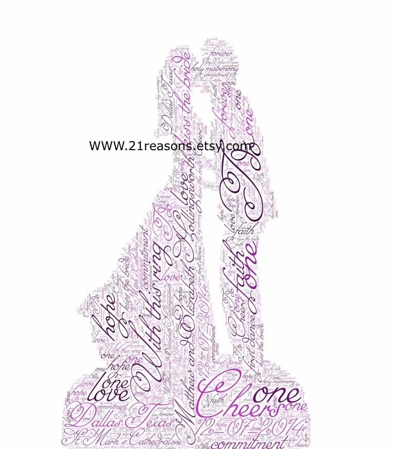 Word Art - Custom Art for Framing or Card Making, Wedding Invitations, Wedding Favors, etc.  Bride and Groom Kissing