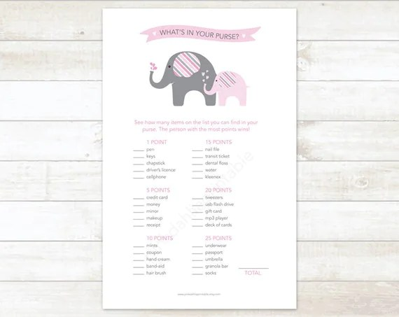 elephants baby girl shower game printable what's in your