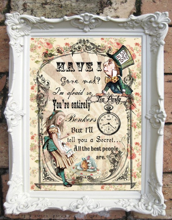 Alice In Wonderland Wall Art. Quote Print