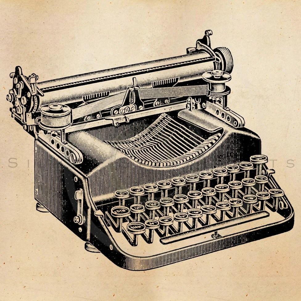 Vintage Typewriter Illustration Printable 1800s Antique ...