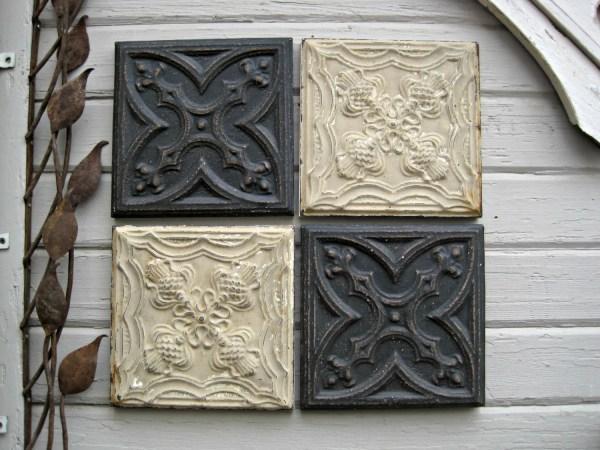 4 12 Antique Ceiling Tin Tiles. Circa 1900. Black