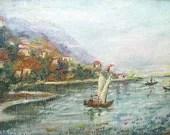Miniature Oil Painting Impressionistic Seascape Framed Small Signed Art  Paris France - vintagebiffann