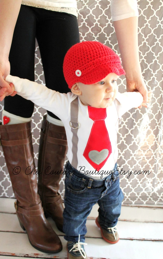 Valentine Baby Boy Tie And Suspenders Bodysuit With Heart