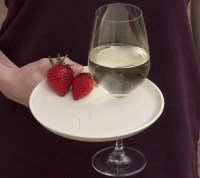 appetizer party plate with wine glass holder set by