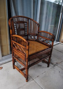 Vintage Brighton Style Rattan Bamboo Chair Asian Chinoiserie