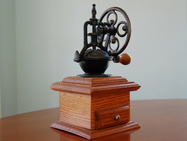 Vintage Cast Iron And Wood Coffee Grinder Antique Style